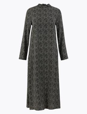 Kadın Siyah Desenli Relaxed Midi Elbise