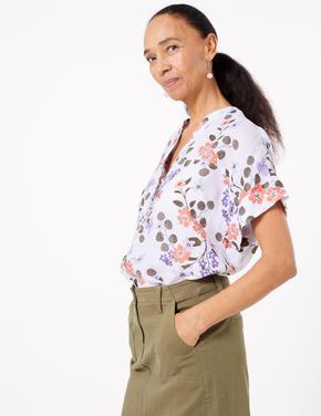 Kadın Beyaz Çiçek Desenli Popover Bluz