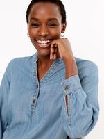 Kadın Mavi V Yaka Popover Bluz