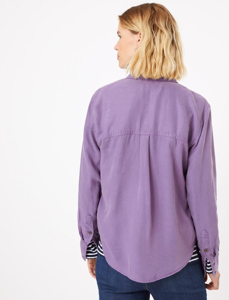 Kadın Mor Düğme Detaylı Gömlek