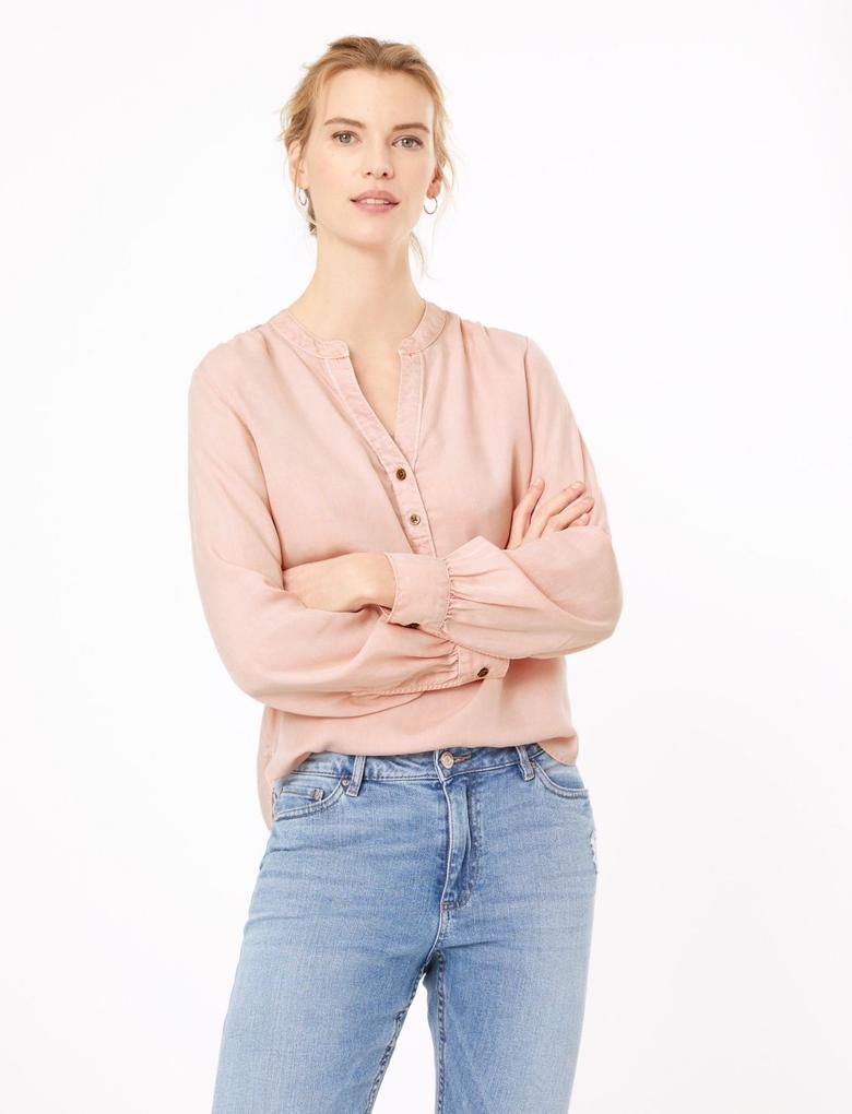 Kadın Pembe V Yaka Popover Bluz