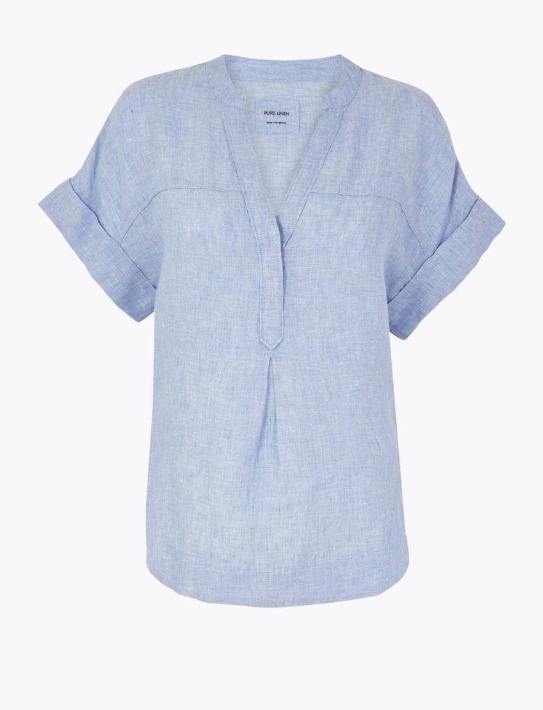 Kadın Mavi Keten Popover Bluz