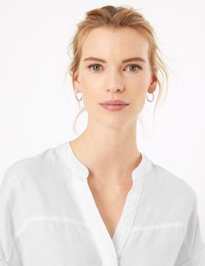 Kadın Beyaz Keten Popover Bluz