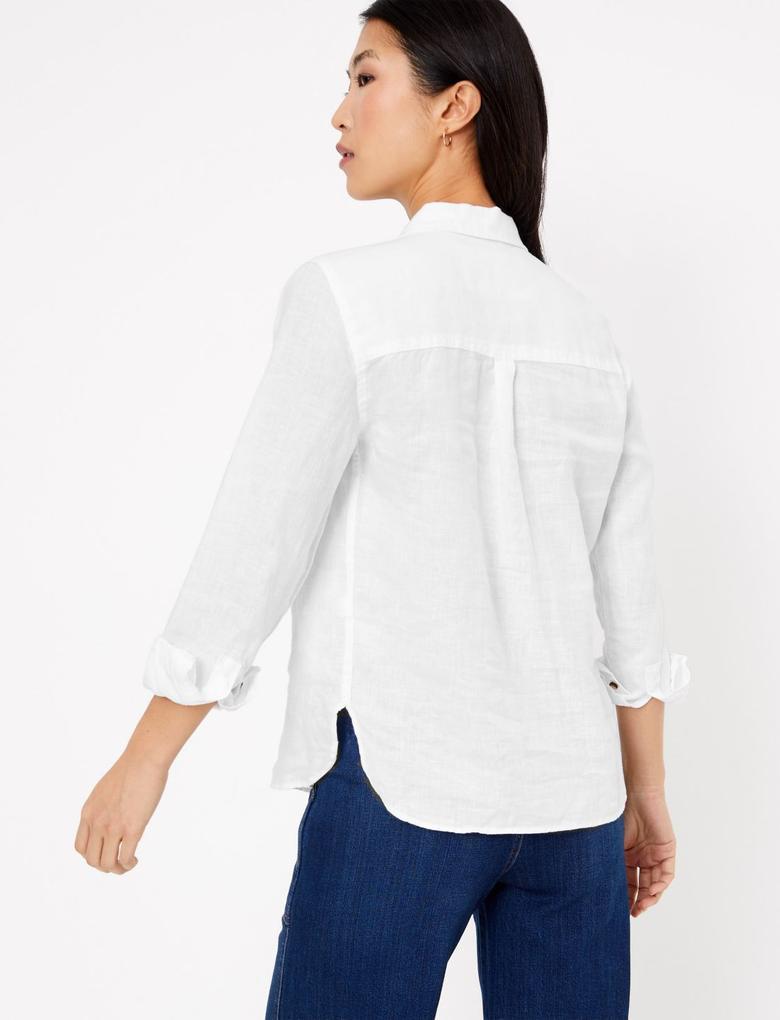 Kadın Beyaz Keten Gömlek