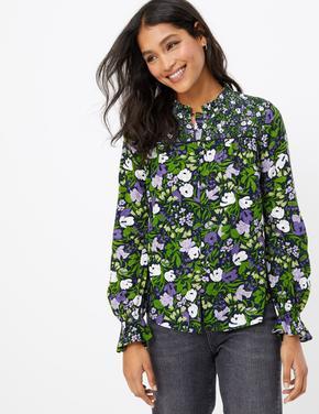 Çiçek Desenli Fırfır Yakalı Bluz