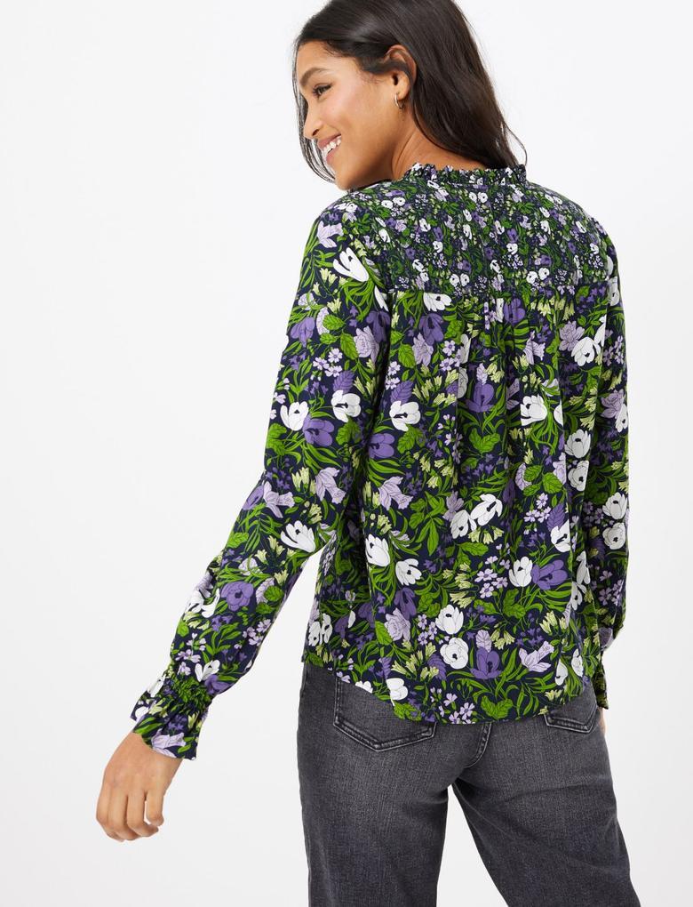 Kadın Lacivert Çiçek Desenli Fırfır Yakalı Bluz