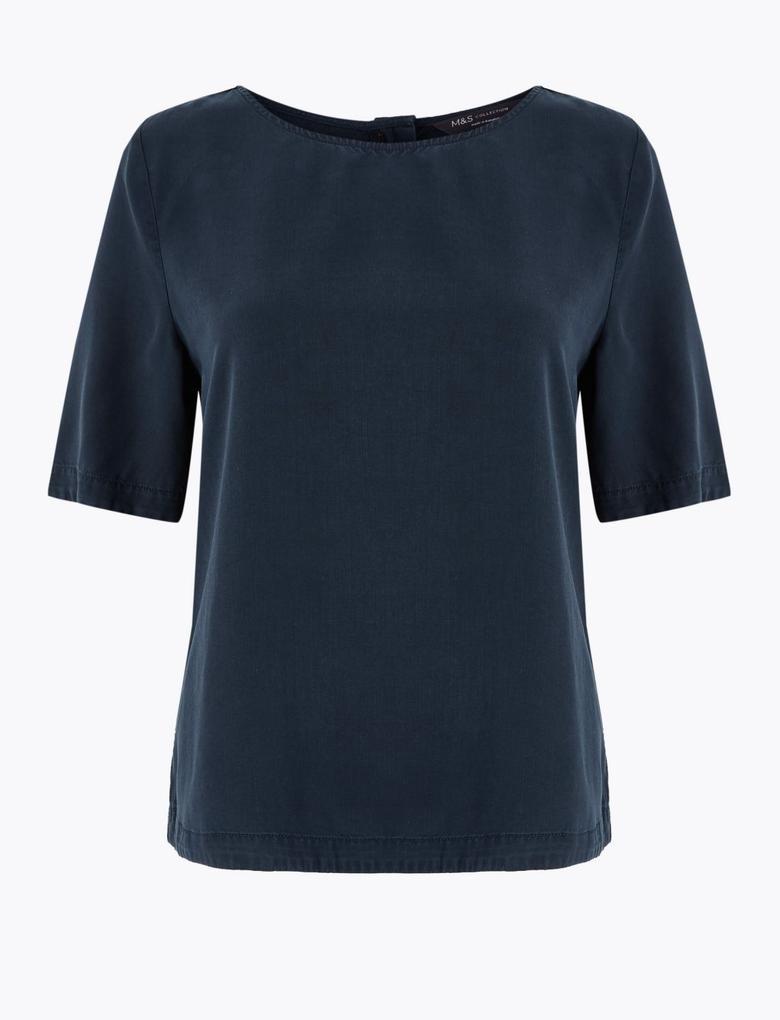 Kadın Lacivert Yuvarlak Yaka Bluz