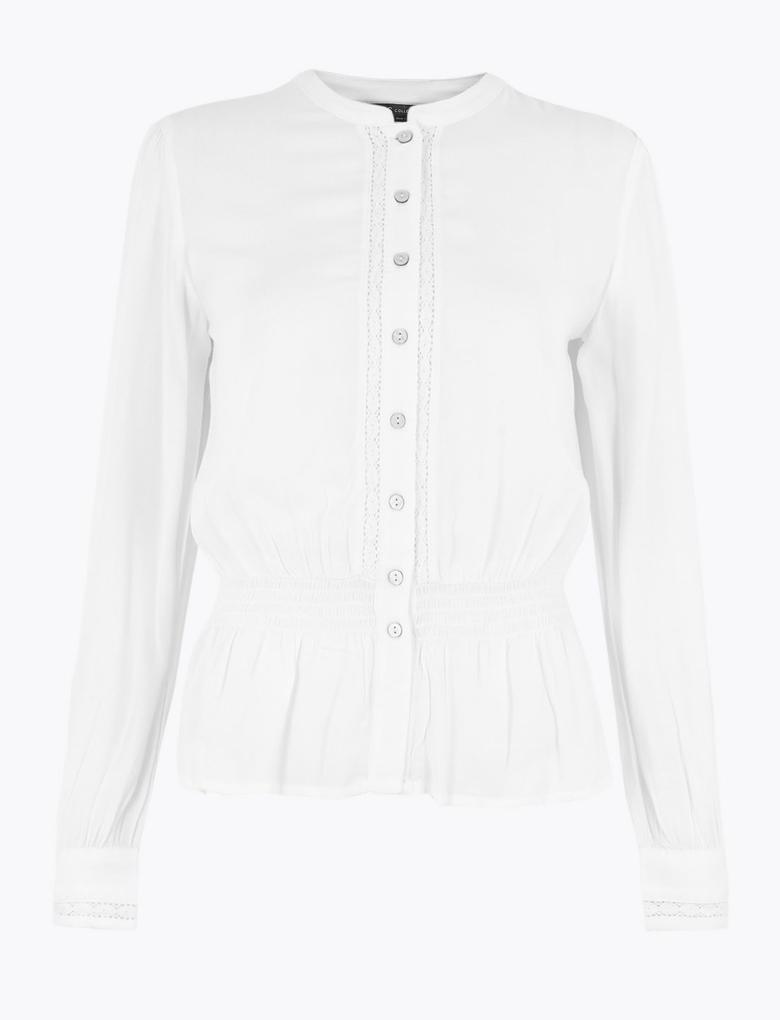 Kadın Beyaz Uzun Kollu Waisted Bluz
