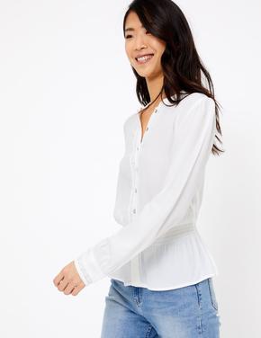 Uzun Kollu Waisted Bluz