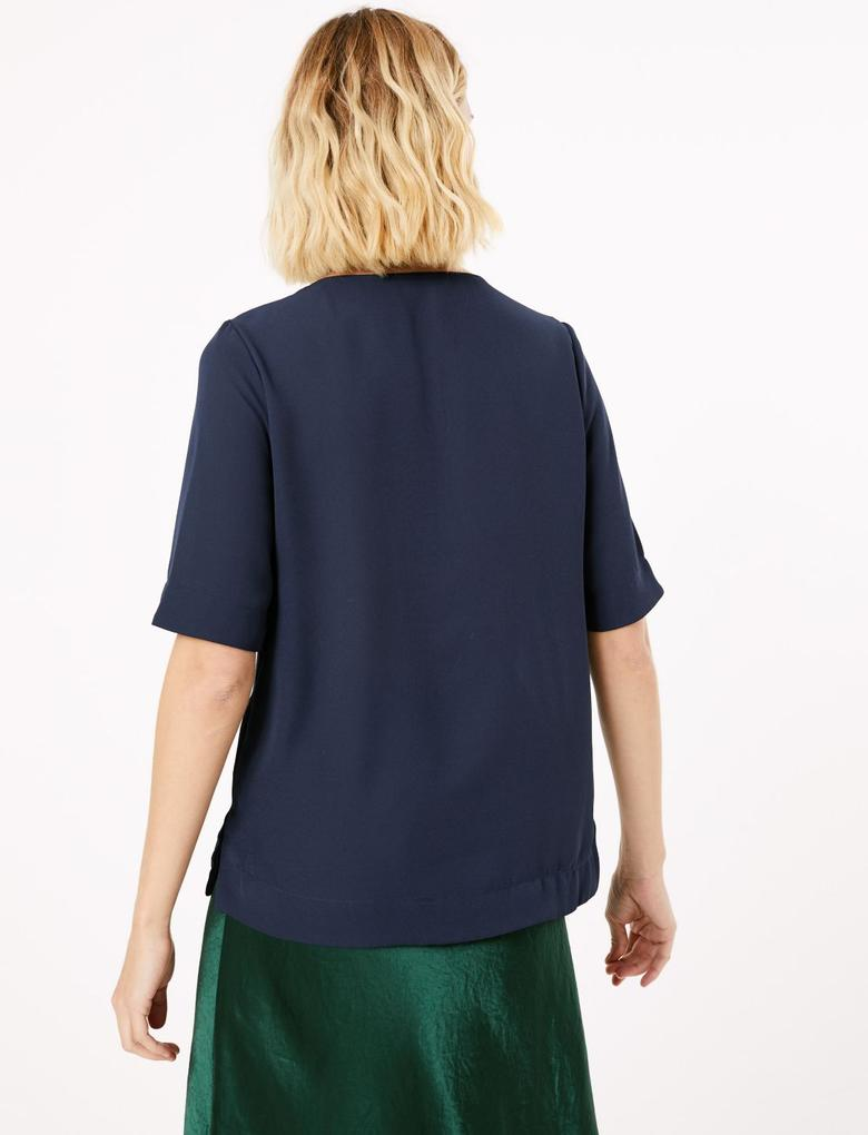 Kadın Lacivert Kısa Kollu Bluz