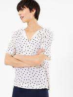 Kadın Krem Puantiyeli Kısa Kollu Bluz