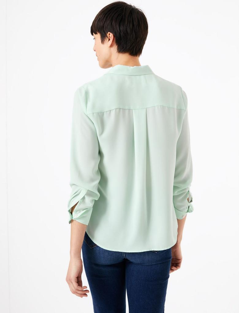 Kadın Mavi Uzun Kollu Bluz