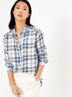 Kadın Krem Yumuşak Dokulu Ekose Gömlek