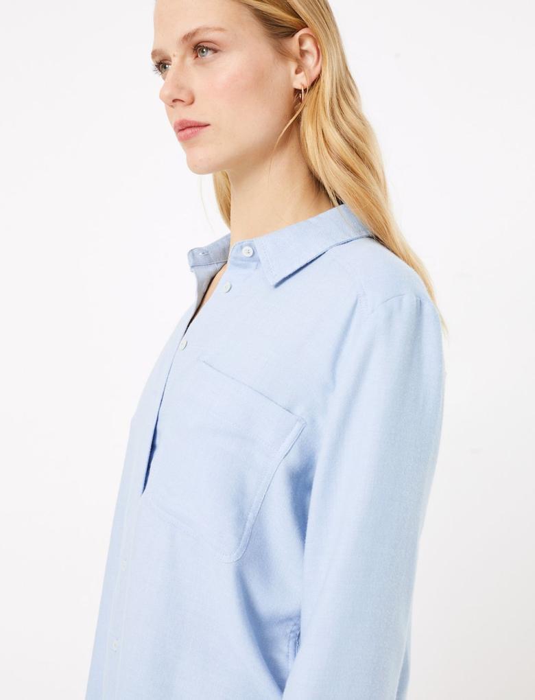 Kadın Mavi Yumuşak Dokulu Relaxed Fit Gömlek