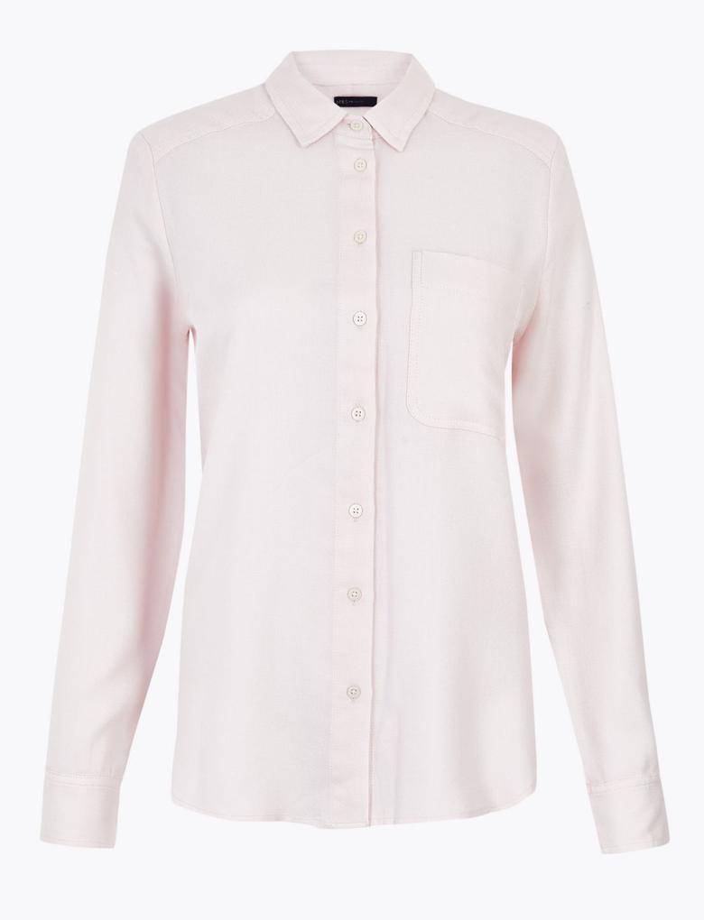 Kadın Pembe Yumuşak Dokulu Relaxed Fit Gömlek