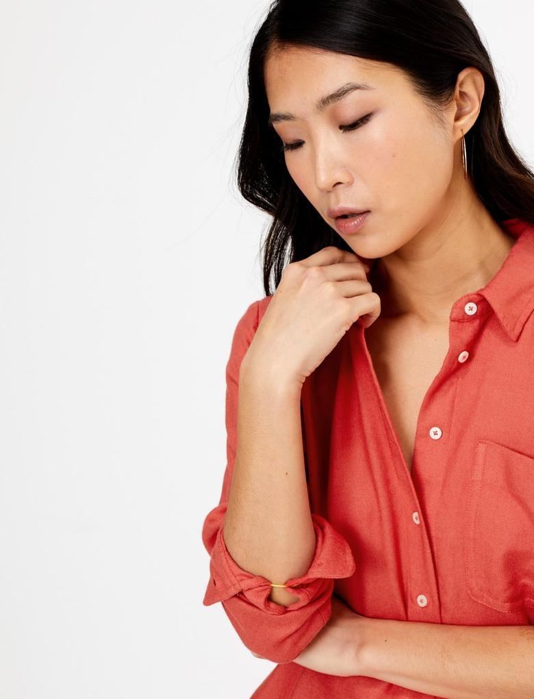 Kadın Turuncu Yumuşak Dokulu Relaxed Fit Gömlek