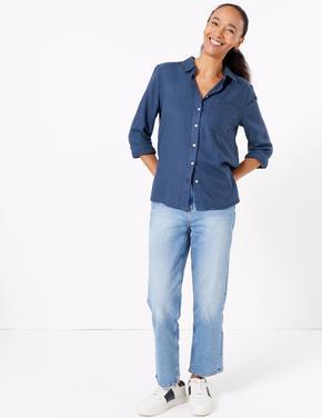 Kadın Lacivert Yumuşak Dokulu Relaxed Fit Gömlek