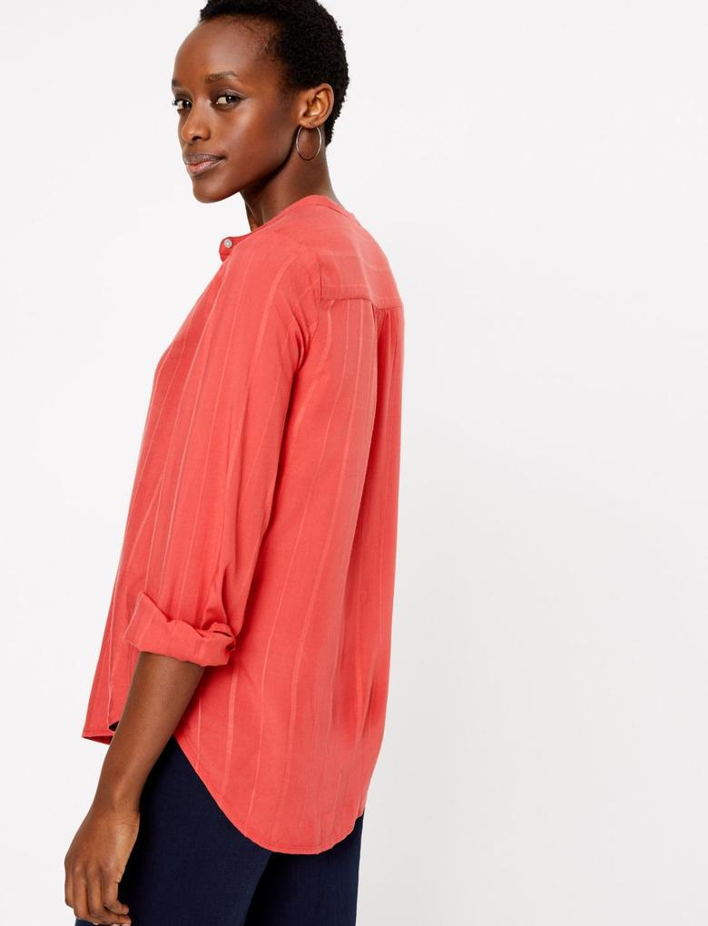 Kadın Turuncu Düğme Detaylı Gömlek