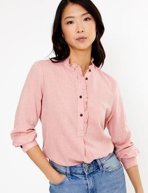 Kadın Pembe Fırfır Detaylı Uzun Bluz