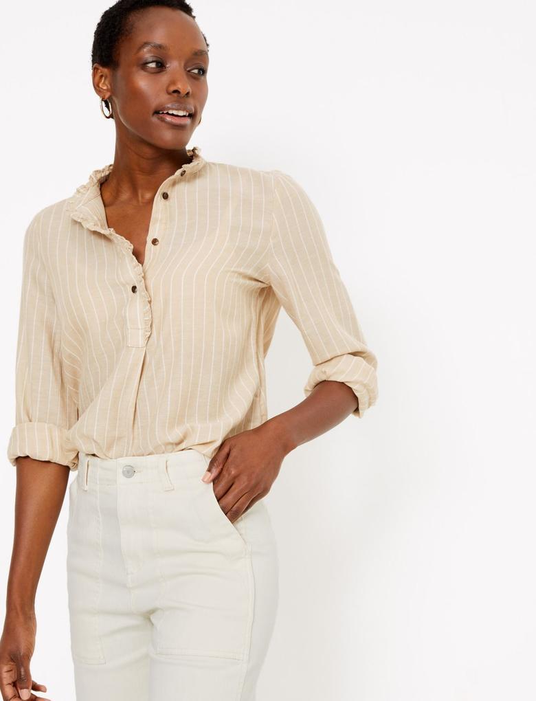 Kadın Kahverengi Fırfır Detaylı Çizgili Uzun Bluz