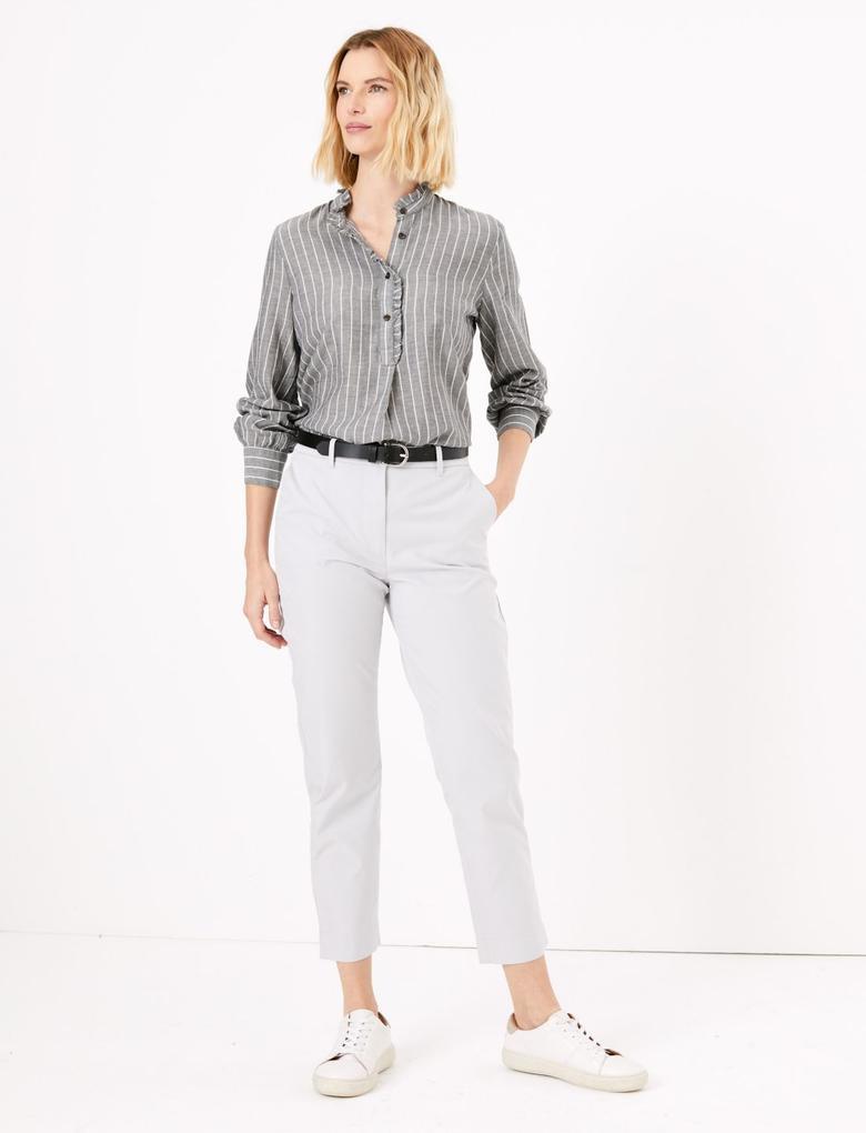 Kadın Gri Fırfır Detaylı Çizgili Uzun Bluz