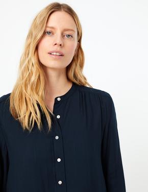 Kadın Lacivert Düğme Detaylı Gömlek