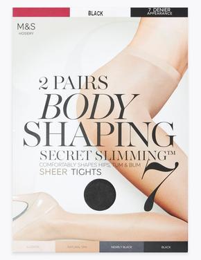 Kadın Siyah 2'li 7 Denye Secret Slimming™ Toparlayıcı Külotlu Çorap Seti
