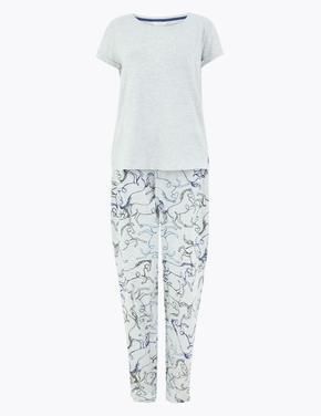 Kadın Gri Desenli Pijama Takımı