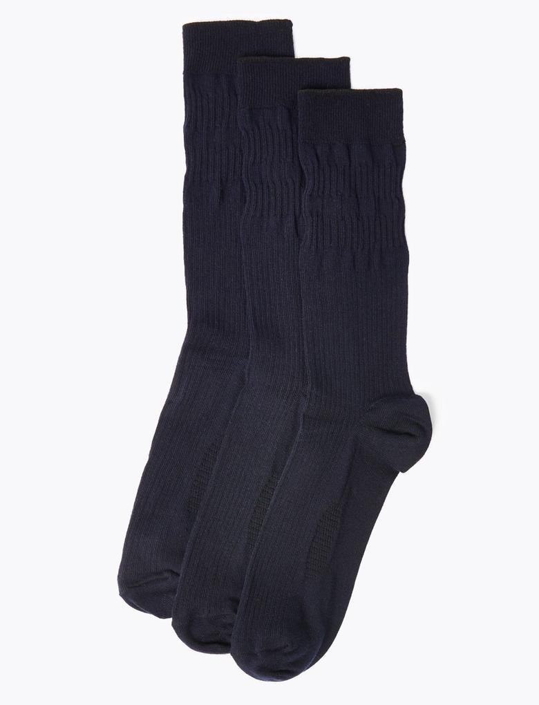 Erkek Lacivert 3'lü Çorap Seti