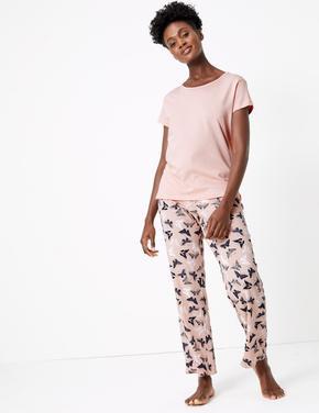 Kadın Pembe Kelebek Desenli Pijama Takımı