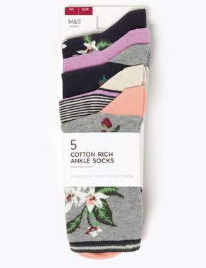 Kadın Lacivert 5'li Ankle Çorap Seti
