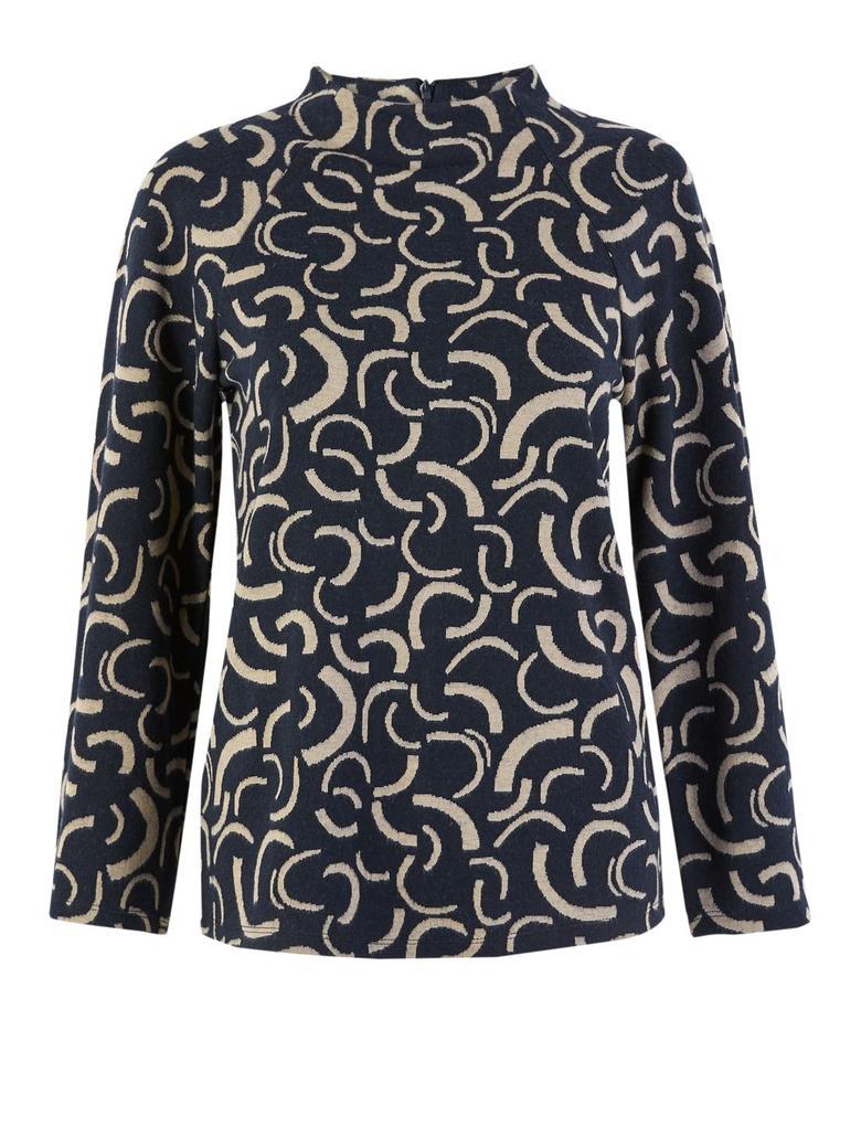 Kadın Lacivert Desenli Dik Yakalı Sweatshirt