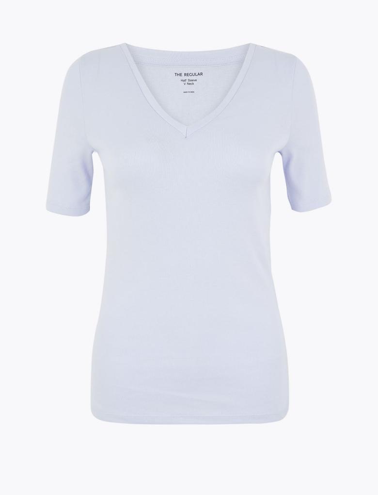 Kadın Mavi Saf Pamuklu Regular Fit T-Shirt