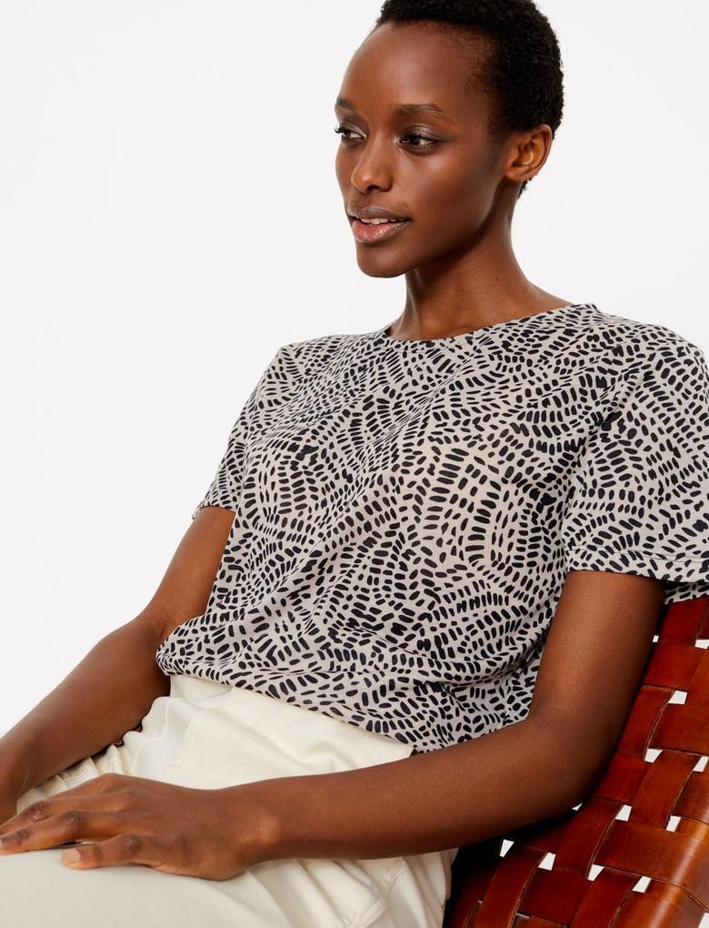 Kadın Multi Renk Desenli Relaxed Fit T-Shirt