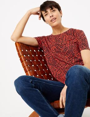 Kadın Pembe Desenli Relaxed Fit T-Shirt