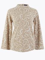 Kadın Kahverengi Desenli Dik Yakalı Sweatshirt