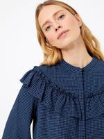 Kadın Lacivert Fırfır Detaylı Bluz