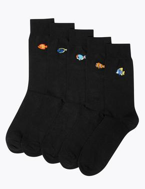 5'li Cool & Fresh™ Balık İşlemeli Çorap Seti