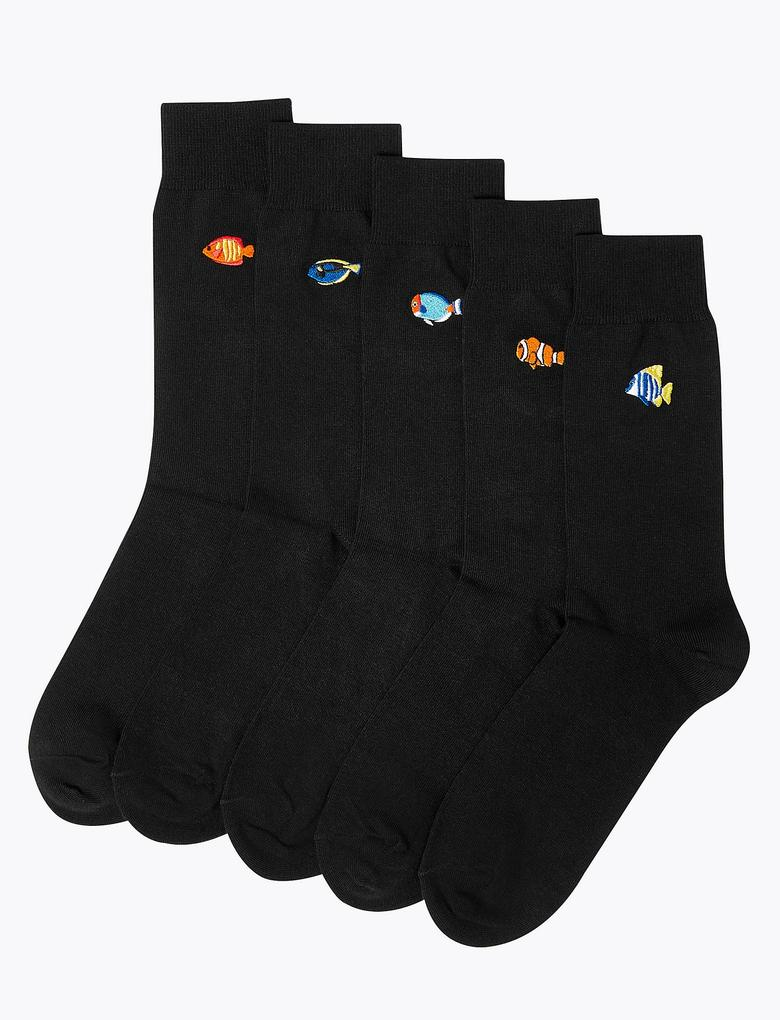 Erkek Siyah 5'li Cool & Fresh™ Balık İşlemeli Çorap Seti