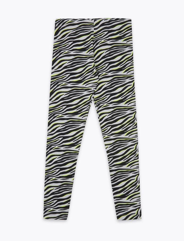 Kız Çocuk Gri Zebra Desenli Tayt