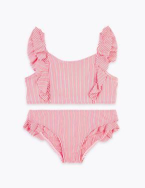 Kız Çocuk Pembe Çizgili Gofre Kumaş Bikini