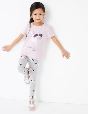 Kız Çocuk Gri Unicorn Desenli Tayt