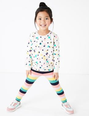 Kız Çocuk Multi Renk Çizgili Tayt