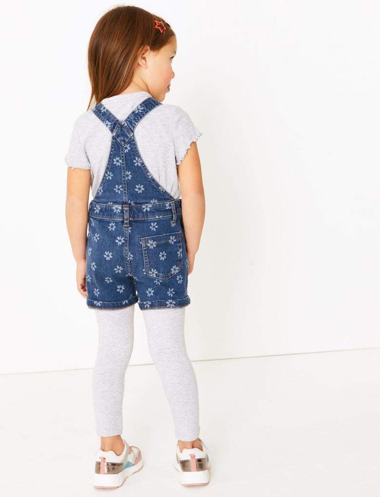 Kız Çocuk Mavi Çiçek Desenli Salopet