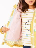 Kız Çocuk Sarı 3'ü 1 Arada Papatya Desenli Balıkçı Montu