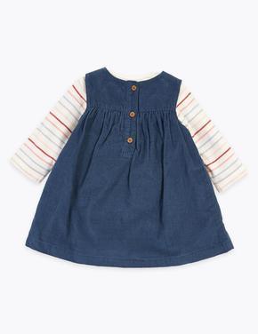 Bebek Lacivert 3'li Çiçek İşlemeli Elbise Takımı