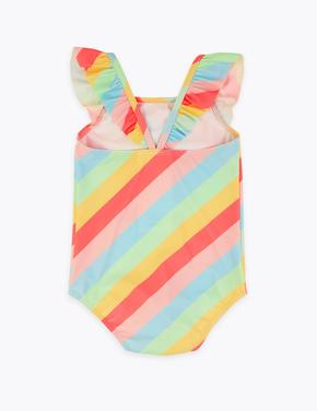Kız Çocuk Multi Renk Gökkuşağı Desenli Mayo