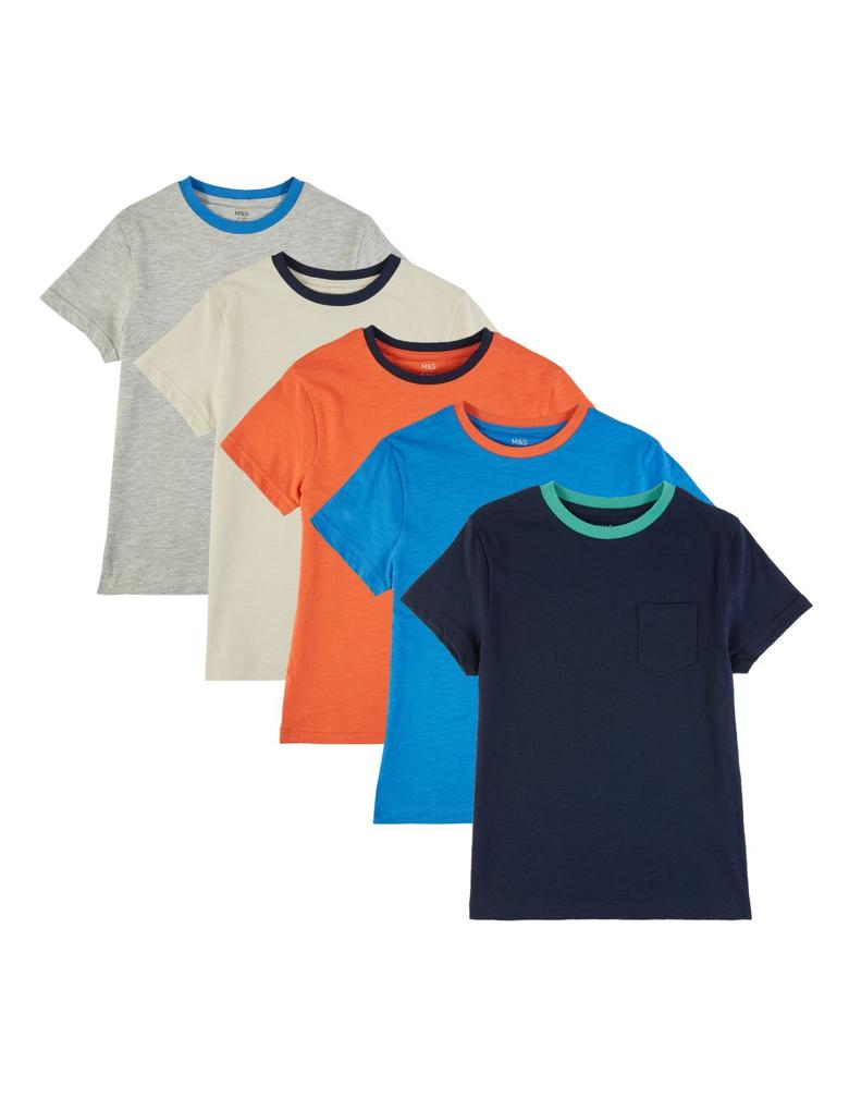 Erkek Çocuk Multi Renk 5'li Kısa Kollu T-Shirt Seti