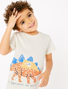 Erkek Çocuk Multi Renk Dinozor Desenli T-Shirt