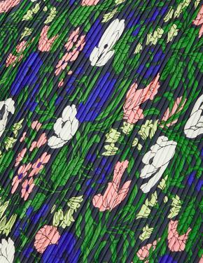 Lacivert Çiçek Desenli Fular